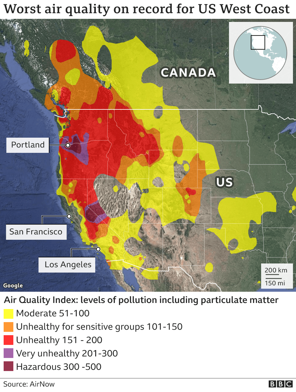 Map showing air quality index for California and Oregon