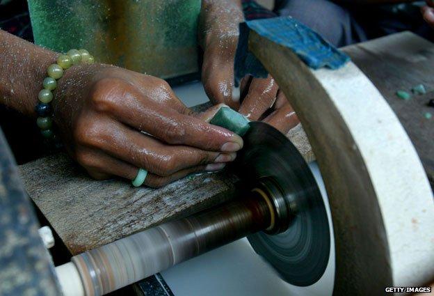 Jade being cut at Mandalay market