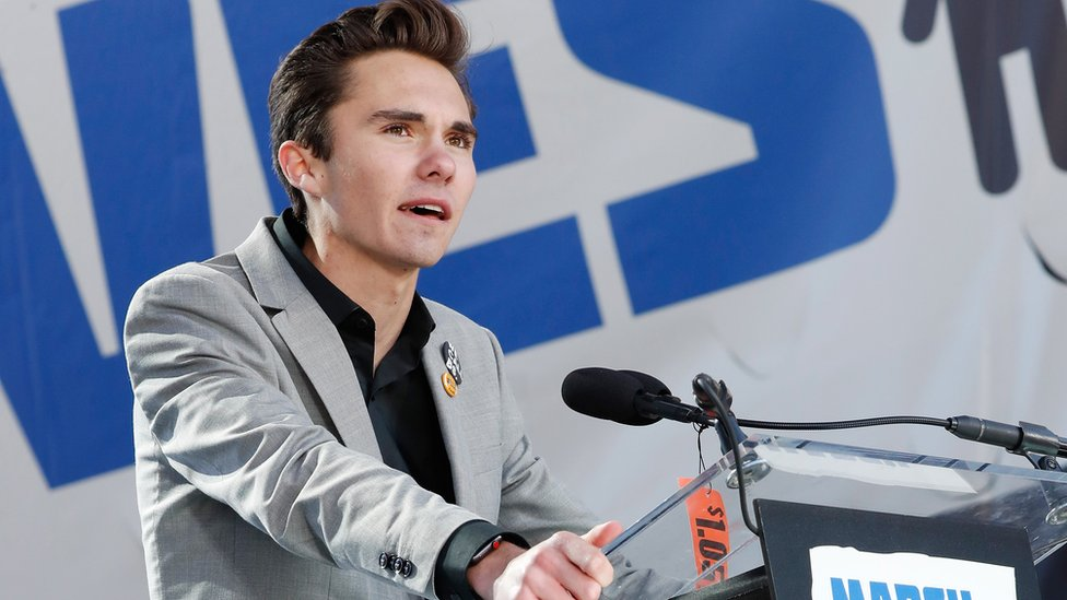 David Hogg speaks on-stage at March for Our Lives event