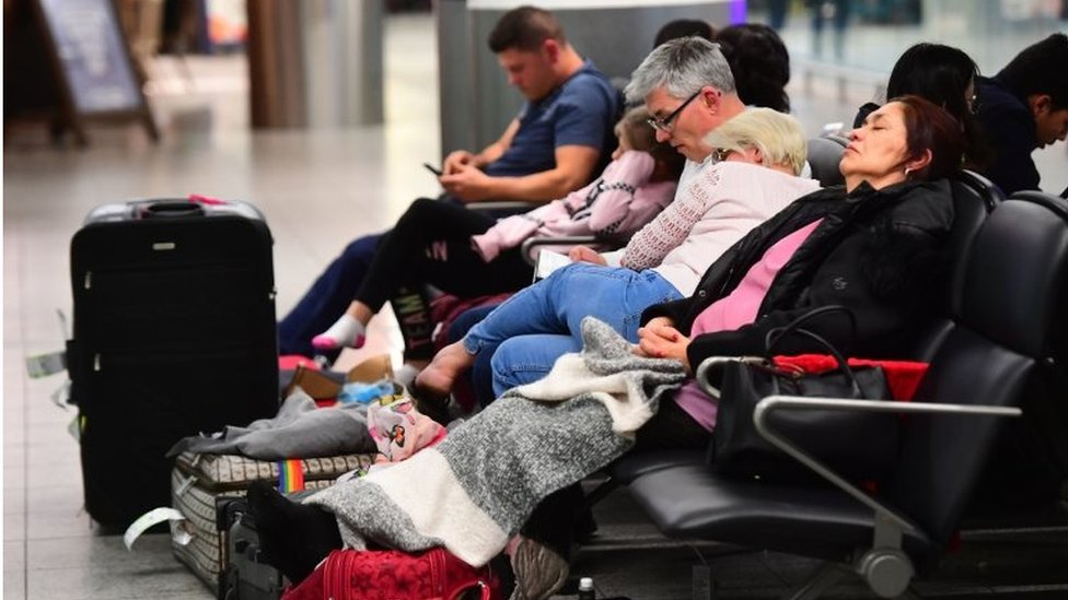 People sleeping at Gatwick