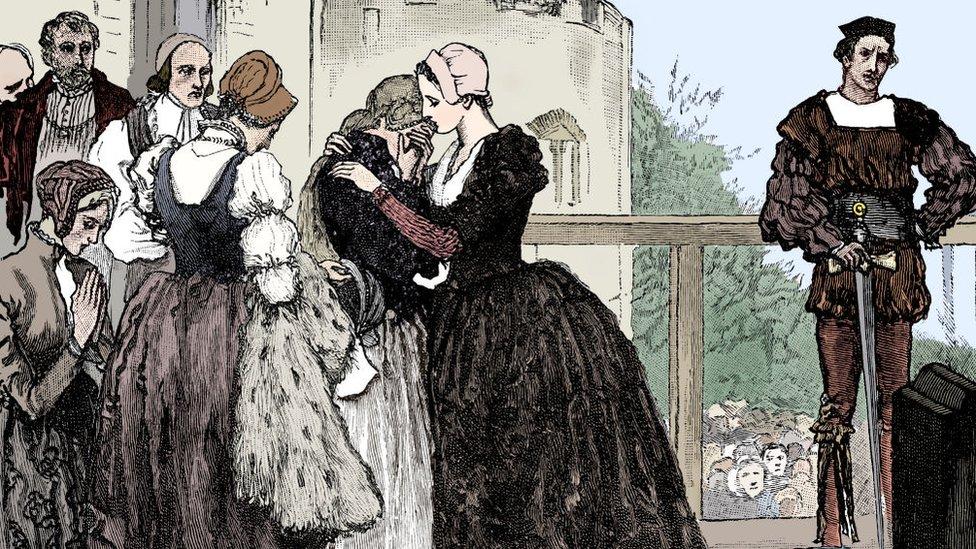 Dibujo de la decapitación de Ana Bolena