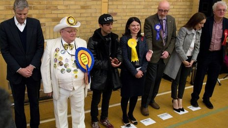 The candidates in the Richmond Park by-election lining up as the results are read