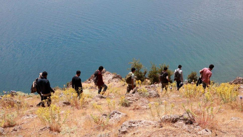 Van Gölü'nün kıyısında yürüyen düzensiz Afgan göçmenler