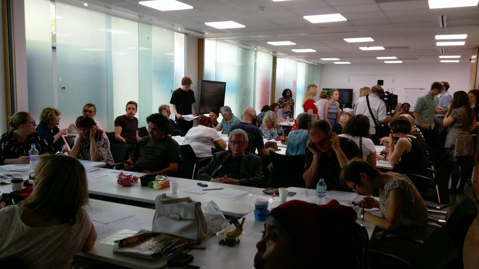 A telephone canvassing event at the offices of the Unite union
