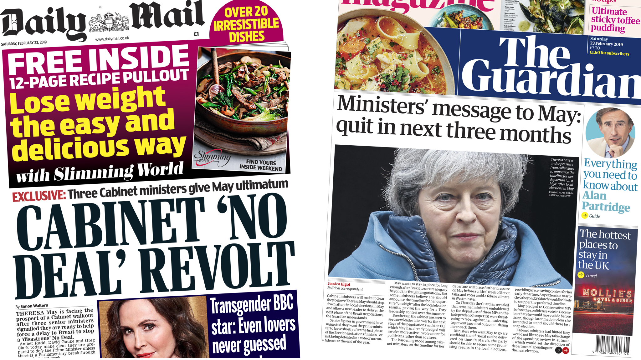The Papers: 'Revolt' and quit messages for May