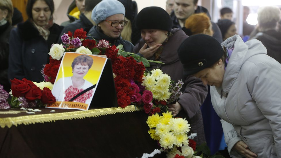 Funeral for plane crash victim in Veliky Novgorod, Russia. 5 Nov 2015