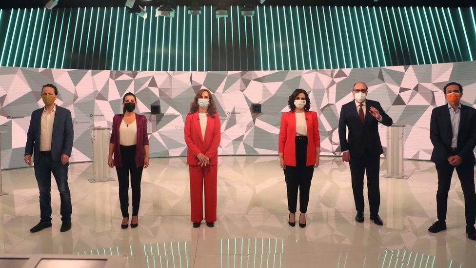 Candidatos a la presidencia de la Comunidad de Madrid en un debate electoral