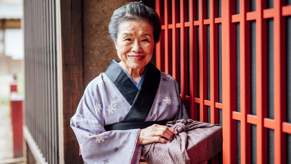 Old Japanese lady in traditional clothing
