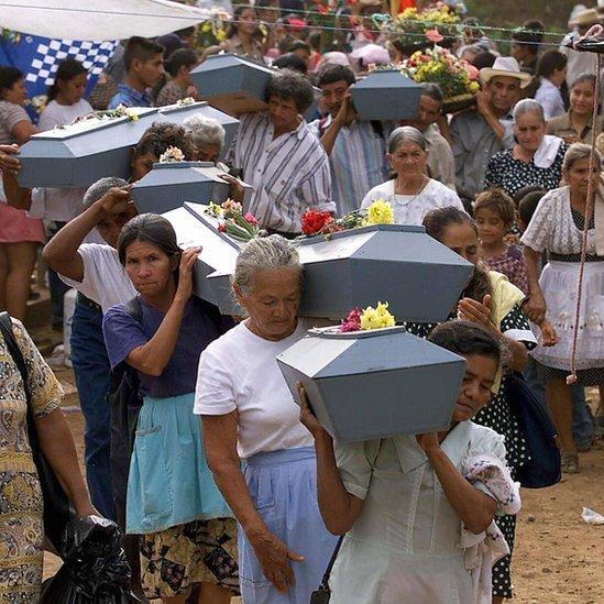 Entierro de víctimas de El Mozote.