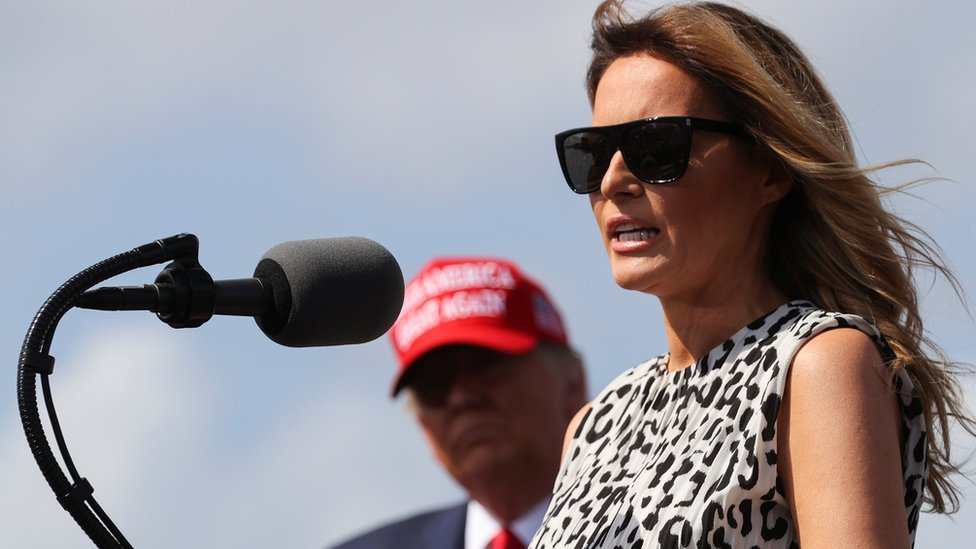 First Lady Melania Trump speaks next to U.S. President Donald Trump during his campaign rally outside Raymond James Stadium, in Tampa, Florida, U.S., October 29, 2020