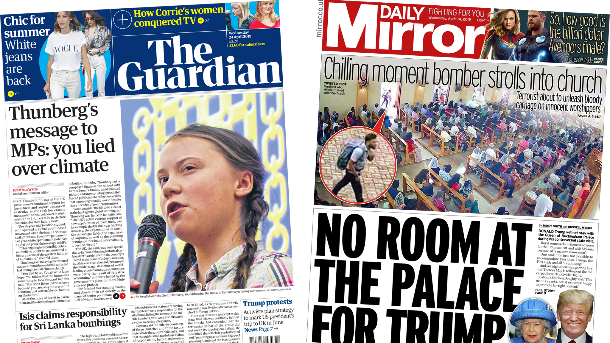 Newspaper headlines: 'Inspired' by Greta and 'no room' for Trump