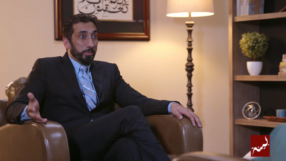 A picture of Nouman Ali Khan, a popular Muslim preacher who was accused of sending topless pictures to an unnamed woman