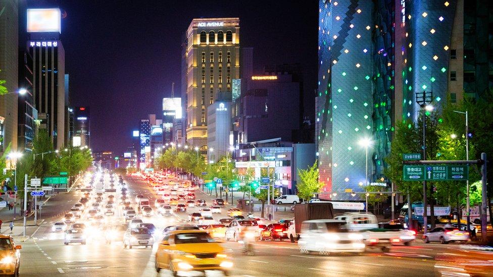 Traffic on a major road in Seoul, South Korea