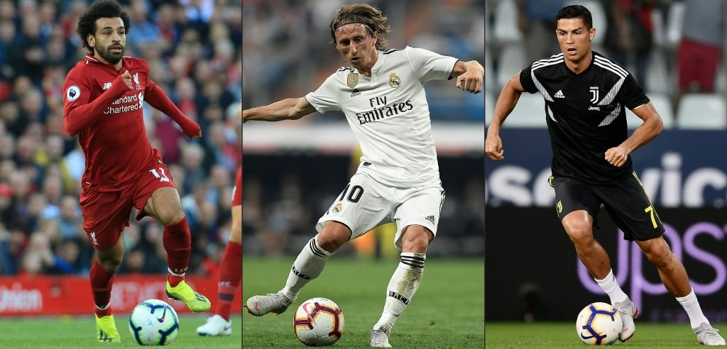 Los tres finalistas al premio The Best: Salah, Modric y Ronaldo.