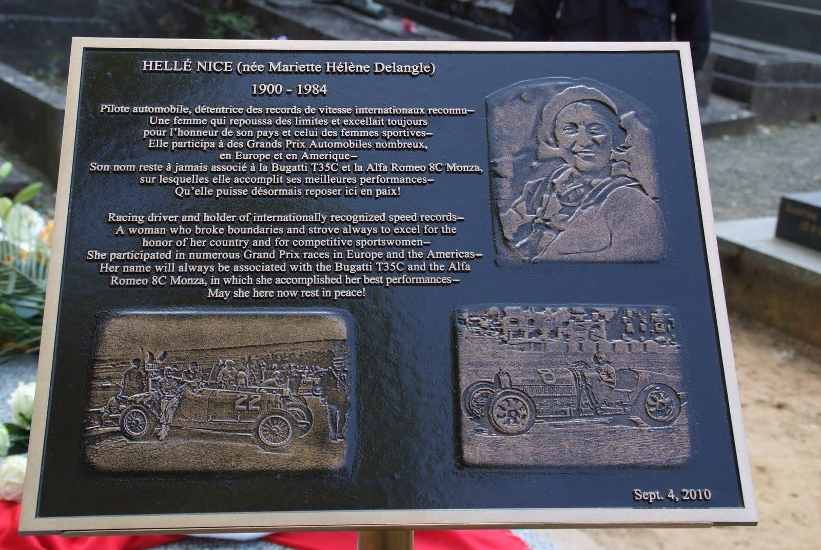 Placa de la fundación Helle Nice