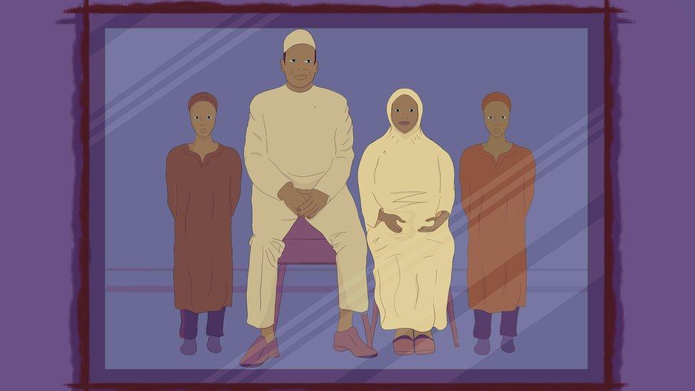 Ilustración de una familia: esposo, mujer con hijab y dos hijos.
