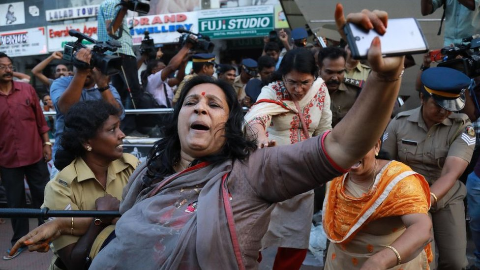 Mujeres manifestando en India.