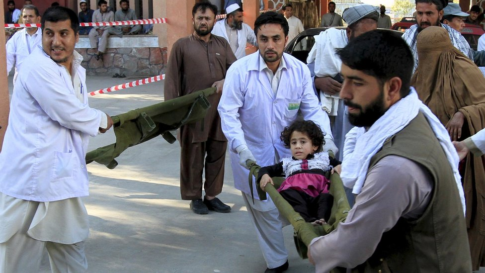 Injured brought to hospital in Jalalabad, Afghanistan, October 26, 2015