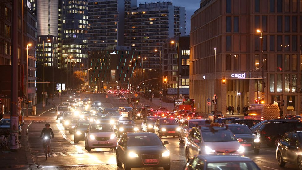 Cars stream along Leipziger Strasse in Berlin city centre on January 30, 2018