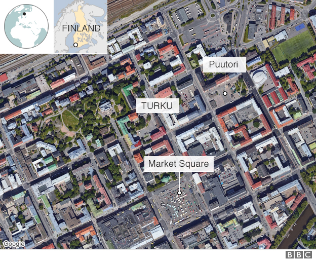 A map showing the market square and Puutori in relation to Turku