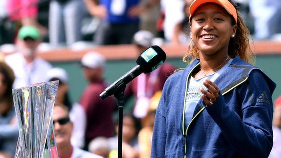 Naomi Osaka delivers her acceptance speech after victory at Indian Wells
