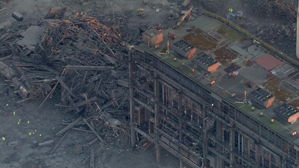 Aerial footage of incident at Didcot Power Station