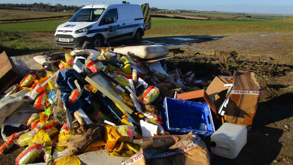 Fly-tipped waste at Great Chishill