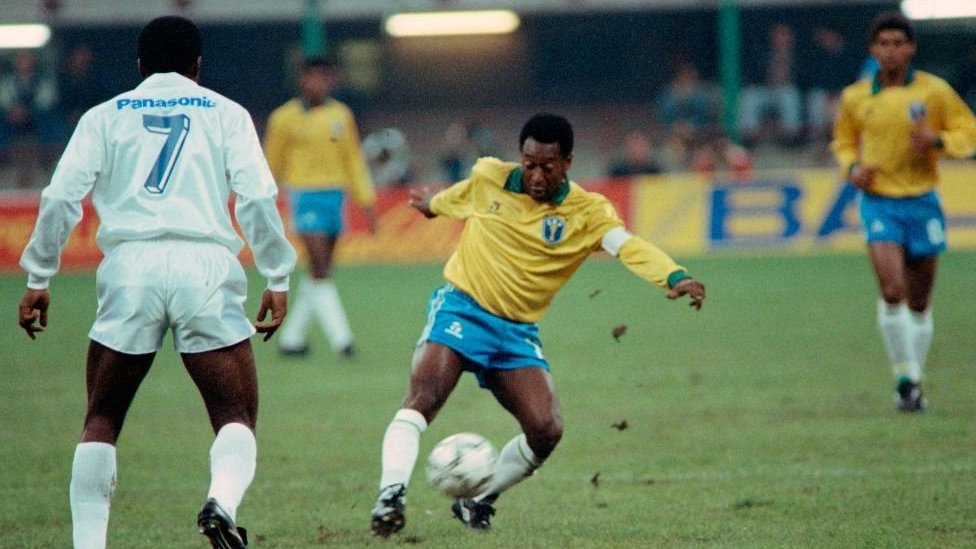 Pele playing for Brazil at 50 in 1990