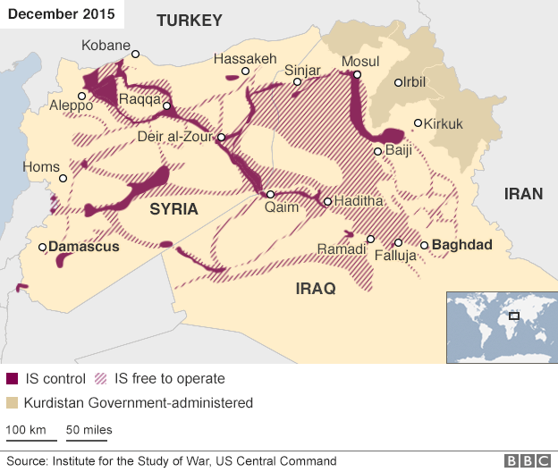 Map showing areas of IS control in Iraq and Syria in December 2015