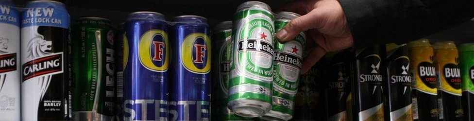 Cans of lager in off-licence