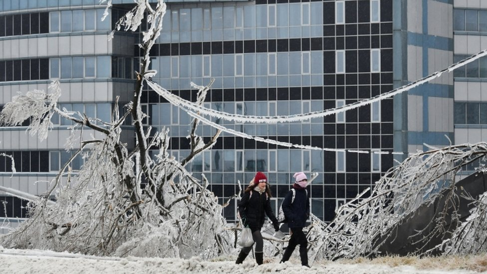 People walk past trees covered with ice after freezing rain in the far eastern city of Vladivostok, Russia