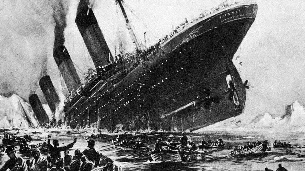 Recreación del hundimiento del Titanic el 15 de abril de 1912.