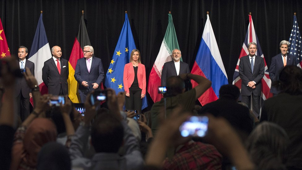 Foreign ministers of Iran, the EU and the P5+1 attend a news conference in Vienna, Austria, after agreeing a nuclear deal (14 July 2015)