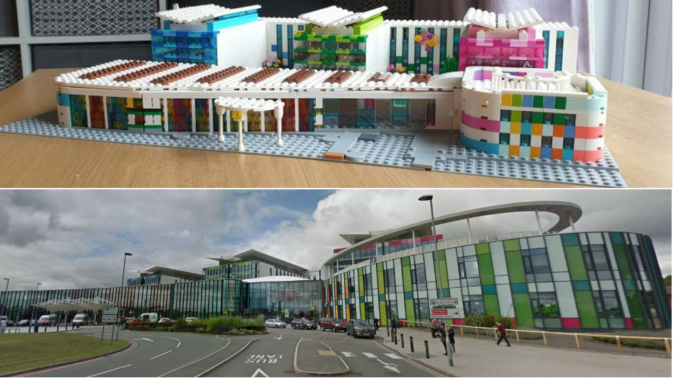 Lego Kings Mill Hospital and the real building