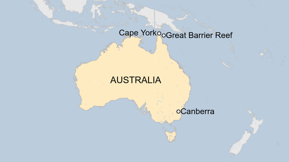 A map showing where the new reef was discovered