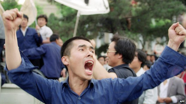 六四學運期間,示威學生高喊口號。