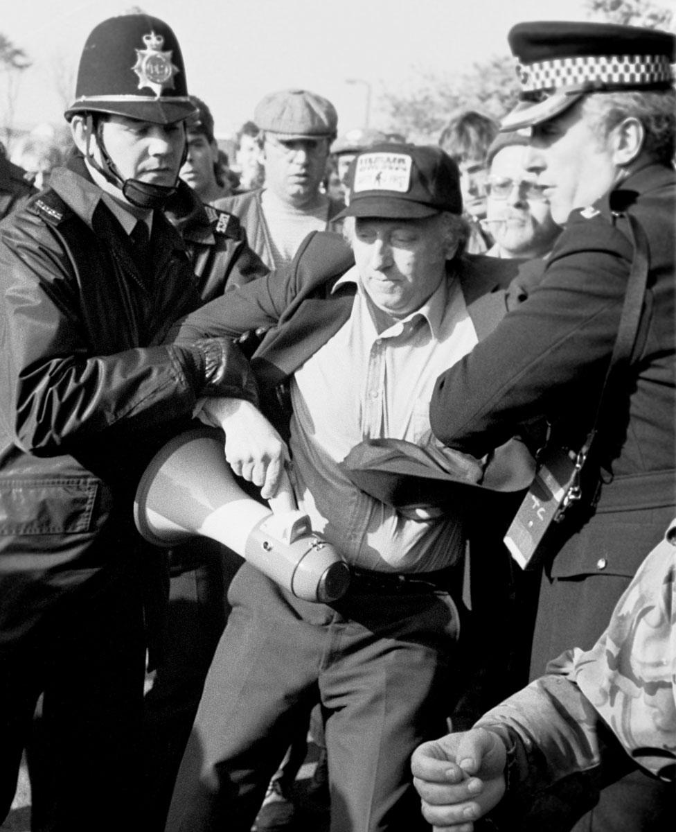 Police arrest Arthur Scargill, NUM President at Orgreave