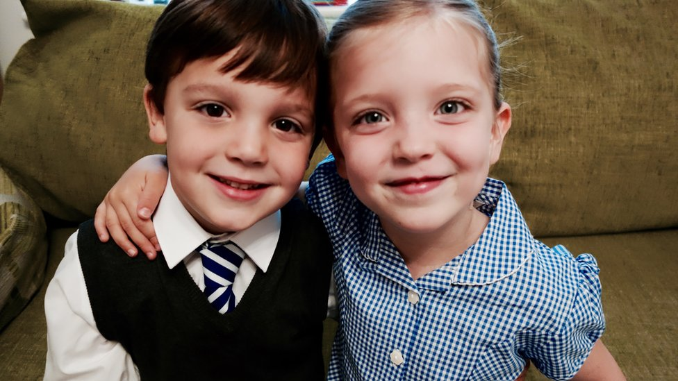 Twins Jasper and Phoebe Tomkins on their first day at school