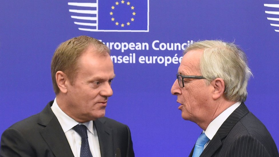 European Commission President Jean-Claude Juncker (right) and European Council President Donald Tusk, 17 Mar 16