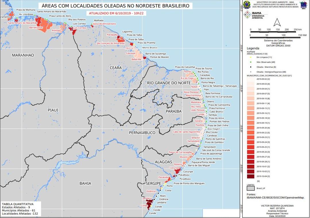 Mapa de las playas afectadas