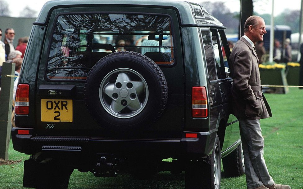 Prince Philip at The Windsor Horse Show Alongside His Land Rover Discovery in 1991