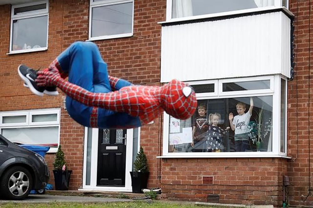 Man dressed as Spider-Man