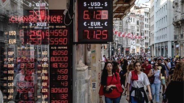 Anjloknya mata uang Turki menimbulkan kekhawatiran terkait dengan paparan bank terhadap ekonomi negara itu.