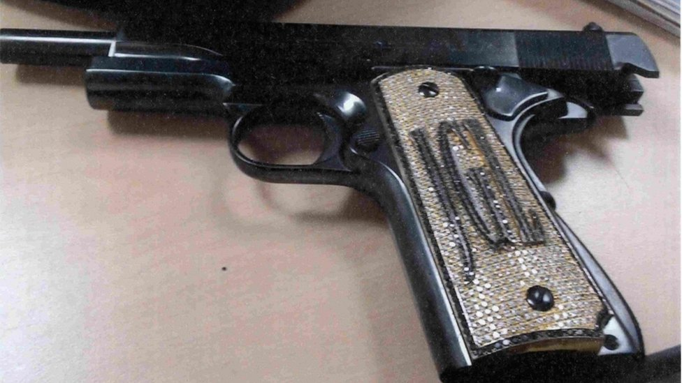 "A diamond-encrusted pistol that government witness Jesús Zambada said belonged to the accused Mexican drug lord Joaquin ""El Chapo"" Guzman"