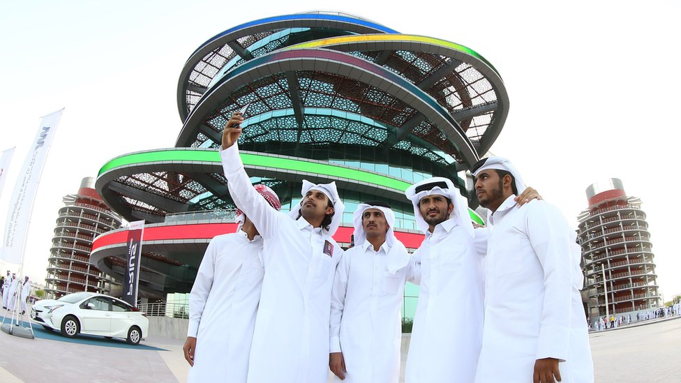 Fans in front of the Khalifa International Stadium in Doha, after it was refurbished ahead of the Qatar 2022 Fifa World Cup