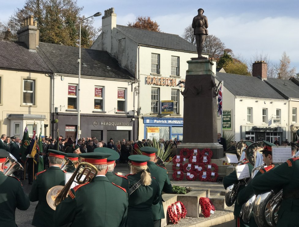 A band playing at the war memorial in Enniskillen