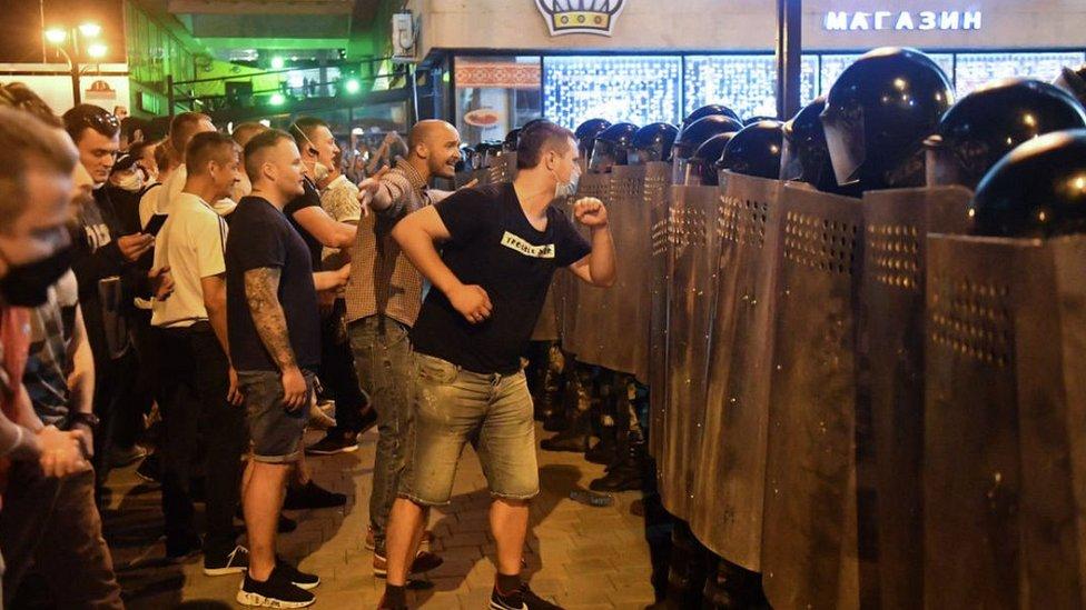 Manifestantes en Minsk.