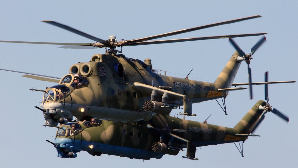 File photo of Mil Mi-24 Hind helicopter gunships