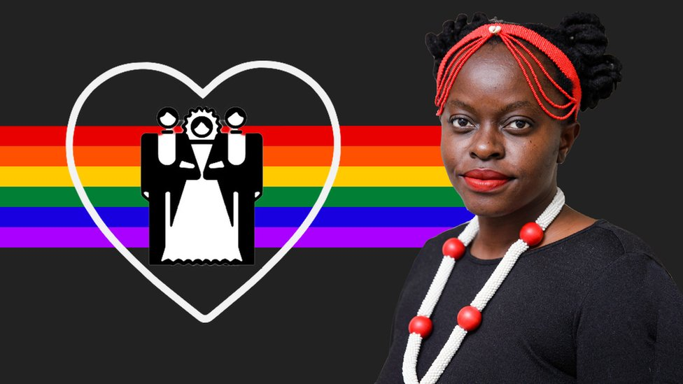 Muvumbi Ndzalama seen against a dark grey background with a LGBT banner running behind; a heart symbol with an illustration of a woman with two men on either side seen on the left