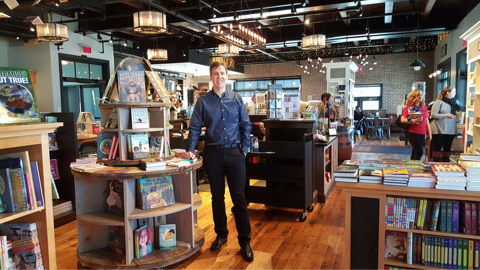 Jeff Kinney in his book shop